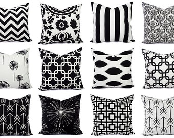 One Decorative Black Pillow Cover - Black and White Pillows- Black Pillow Sham - Black Pillowcase - 20 x 20 In Pillows - 18 x 18 In Pillows