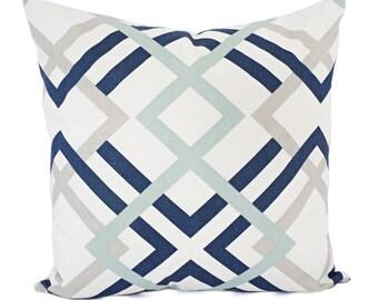 Blue Decorative Pillow - Two Navy Pillow Covers - Trellis Pillow Sham - Spa Blue Pillow - Grey Pillow - 18 x 18 Pillow 16 x 16 Pillow