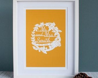 Personalised Wedding Print, Nature, Wildlife, Paper cut,  Wedding Gift, Wedding papercut, Anniversary, Autumn