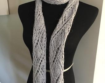 Alpaca/cotton diamond knit scarf-alpine grey-ready to ship