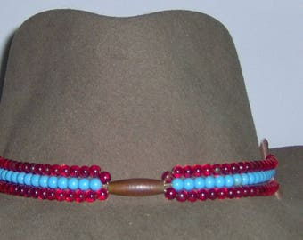 G Red and Turquoise Glass Bead With Bone Tube Bead Center Hat-Band  Genuine Leather with Silver Tone Studs and Natural Twine