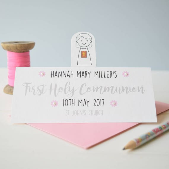 Girl's First Holy Communion Card - Personalised card - Holy Communion - Confirmation card