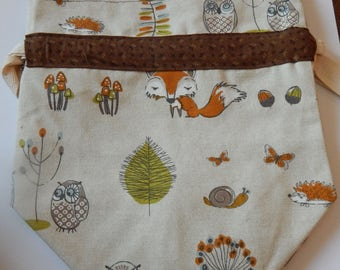 Mr Fox Sox Drawstring project bag