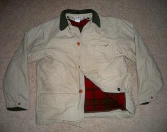 Vintage L.L. Bean Cotton Shooting Men's Jacket Coat W/ Blanket Lining Size Large Regular Made in USA