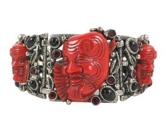 Selro Red Devil Bracelet/ Japanese Theater Okina Noh Mask  Bracelet / Selro Red Warrior Silver Tone Wide Panel Rhinestone Bracelet