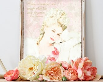 Marie Antoinette Portrait, Blush Wall Art, Girly Gift for Her, Watercolor Art Print, Feminine Bedroom Bathroom Decor, Marie Antoinette Quote