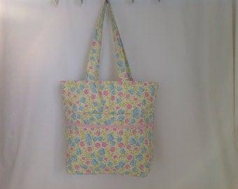 Pretty Pastel Floral Fabric Tote Bag, Beach Bag, Shopper, Hand Bag