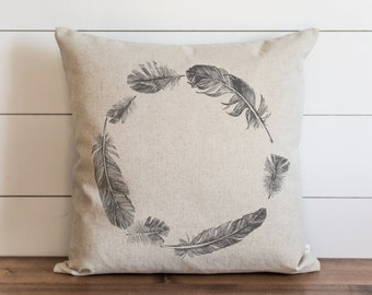 Feather Wreath 20 x 20 Pillow Cover // Everyday // Feather // Tribal // Throw Pillow // Gift for Her // Accent Pillow