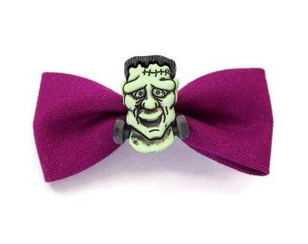 friendly frankenstein's monster hair bow - rockabilly psychobilly horror halloween kawaii hair accessory clip