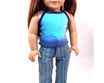 "18 inch doll clothes ""The Brooklynn"" Eco friendly Strappy Top, High Waist Fashion Pants, Sneakers to fit ""American Girl"" doll"