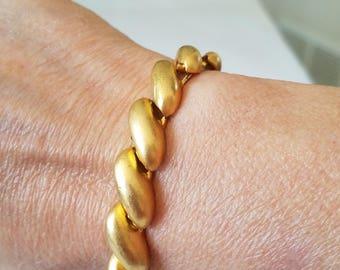 Vintage Gold Tone Bracelet, Matted Gold Finish Bracelet, Made in USA Bracelet, Gold Tone Matted Bracelet