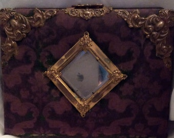 ON SALE...Victorian Velvet Photo Album, Assemblage, Beveled Mirror and Ornate Brass Decoration, Clasp and Interior Pages In Tact