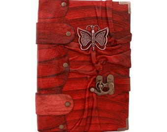 Butterfly Sculpture On A Red Leather Journal / Notebook / Diary / Sketchbook / Leatherbound