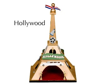 """Eiffel Tower - """"Hollywood"""" - Miniatures and gold paint on wood"""
