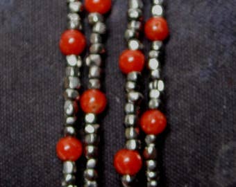 Victorian style steel cut and coral beads bracelet