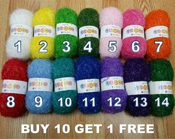 SPECIAL<Buy 10 Get 1 Free> Eco-Friendly Scubber, Scrubby, Scrubbies, Crunchy, Eyelash, Susemi Yarn-100% Polyester *<Please read description>