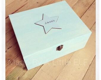 Wooden boys personalised baby memory box keepsake