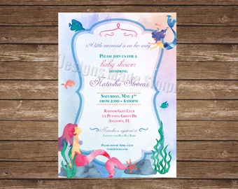 Little Mermaid Water Color Baby Shower Invitation - Printable