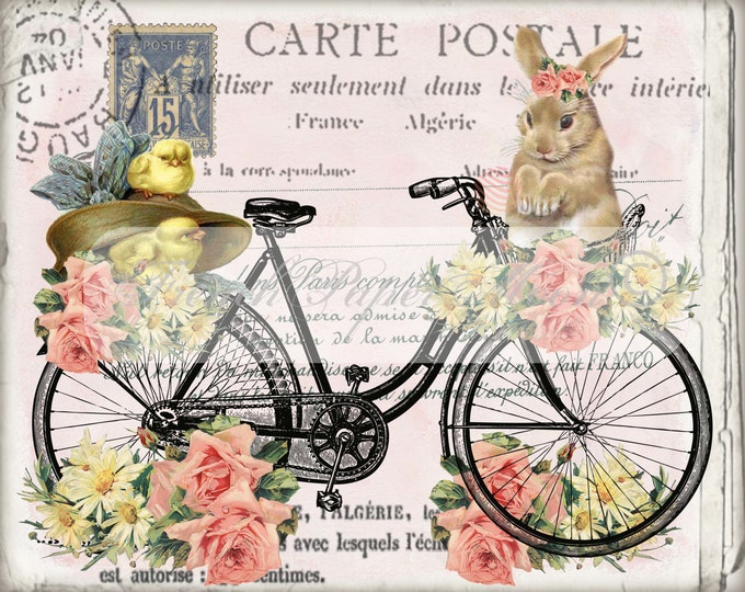 Vintage Digital Shabby Easter Bike with Bunny, Easter Chicks,Roses, French Easter Pillow Image, Easter Transfer Graphic