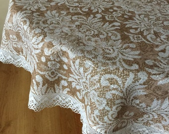 Linen Round Tablecloth Lace Print Fabric Table Linens 63 inches