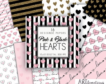 PINK & GOLD HEARTS Digital Designer Papers 16 pink watercolor hand painted and drawn hearts, gold, love, wedding, girl baby, shower, bride