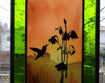 Hummingbird Painted stained glass panel