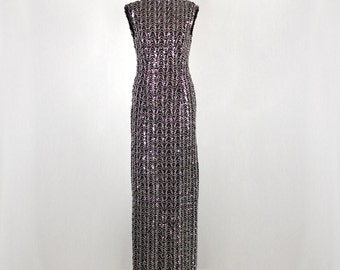 1960s sleeveless Vintage black dress with silver decorations