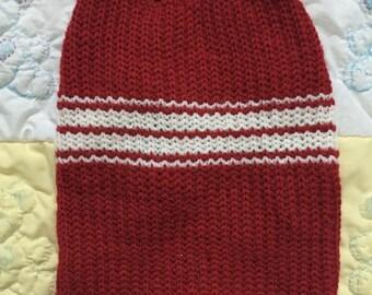 Dark red and white pet sweater