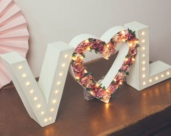 Flower letter light, Rustic wedding sign, initial lights, flower letters, valentines heart, sweetheart table sign, marquee lights