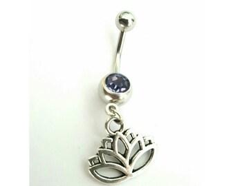 Pick Color Crystal Gem - Lotus flower Dangling Belly ring body jewlery Piercing Navel Piercings Flowers Flowers New Unused