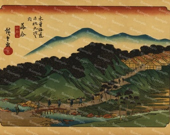 Set of two Original Antique Japanese Colored Lithograph Prints from  69 Stations of the Nakasendo - Hiroshige-