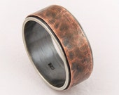 Unique rustic mens ring - silver copper ring,mens engagement ring,mens wedding ring,rustic wedding ring,mixed metal ring,mens ring