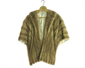 Vintage Mink Fur Cape With Elongated Front, Capelet, Shrug, Wrap