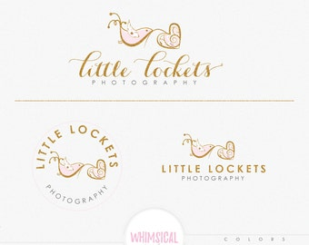 Bird holding heart-  hand sketched logo - BIRD boutique Logo kit -branding kit products logo Gold watercolor photographer logo branding