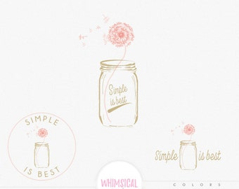 Dandelion in Mason Jar- Premade Photography Logo and Watermark, Classic Elegant Script Font gold glitter dandelion Calligraphy Logo