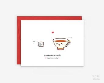 Cute Tea Cup and Sugar Love Card, Valentine's Day Card, Anniversary Card, I Love You Day Card