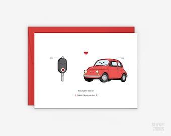 Cute Car and Car Key Love Card, Valentine's Day Card, Anniversary Card, I Love You Day Card