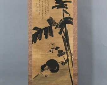 Ancient Chinese Painting scroll.Cat and calligraphy