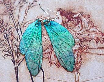 Fairy Wing Earrings, Fairy Earrings, Faerie Earrings, Iridescent Green Earrings, Hand Painted, Green Dangle Earrings, Boho Earrings