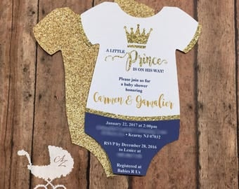 Little Prince Baby Shower Invitation - Baby Shower Onesie Invitation - Little Prince - Riyal Blue - Blue - Gold - Glitter - New Baby