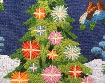 Vintage Christmas needlepoint forest animals tree star