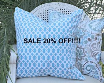 Waverly Ellis Pillow Cover 20x20 Turquoise Accent Pillow Decorative Pillow Toss Pillow Designer Custom Linen Pillow