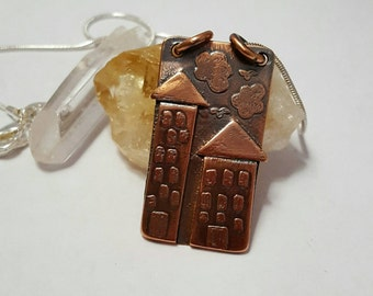 Copper quirky house pendant - copper house - copper house necklace - house necklace copper pendant