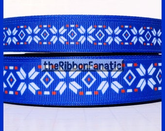 """5 yds  5/8"""" and 7/8"""" Red White Blue Nordic Pattern Grosgrain Ribbon"""