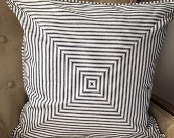Black Stripe Pillow Cover 22 x 22 inch Black White Stripe Pillow Cover Black Ticking Stripe Pillow Black Denim Pillow Cover Farmhouse Decor