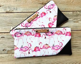 Mini Clutches, Faux Leather Clutches, Wristlet, Faux Leather Wristlet, Mini Wristlet, Wristlet Purse, Leather Wristlet, Flamingo Print