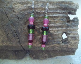 Pink/Green/Burgundy Beaded Earrings