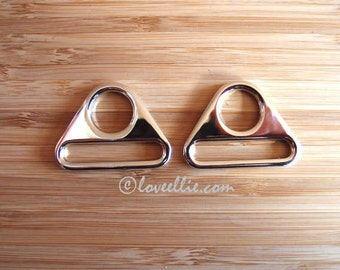 Triangular Rings - 1 inch (25mm) - flat triangle rings - in Silver Nickel-  Bag and Strap Hardware