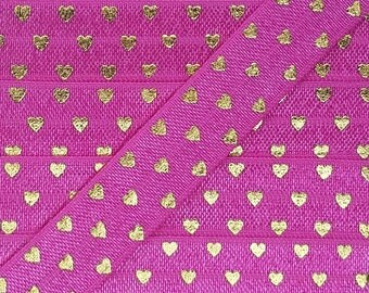 5/8 GARDEN ROSE with Gold Polka Hearts Fold Over Elastic