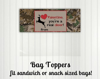 Camo Valentine, Valentine Bag Toppers, Deer, Hunting, Camouflage, Outdoor